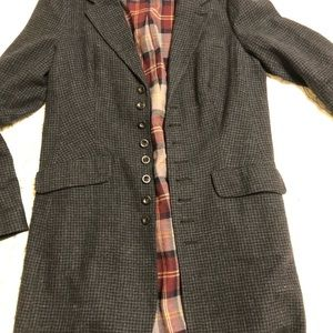 Free People wool plaid blues button sweater coat